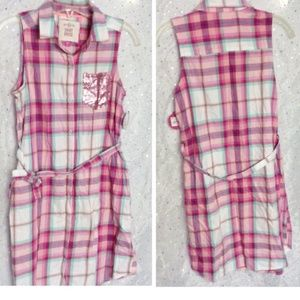 XXL 16 SO Plaid Sleeveless Shirt Dress Sequins